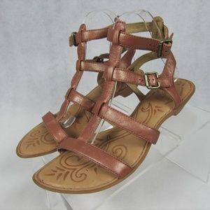 Born Light Copper Leather T-Strap Sandals 9 EU40.5